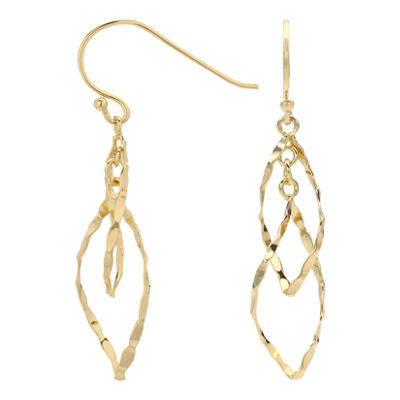 Double-Leaf Openwork Abstract Drop Earrings