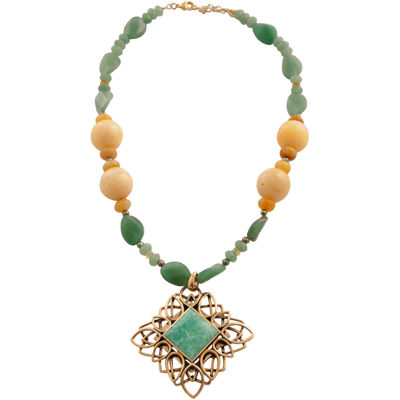 Art Smith by BARSE Yellow & Green Gemstone Pendant Necklace