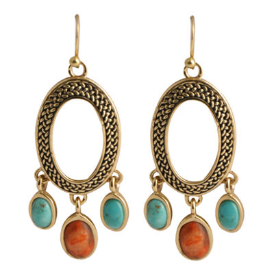 Art Smith by BARSE Turquoise & Coral Oval Earrings