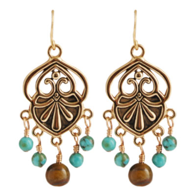 Art Smith by BARSE Turquoise & Tiger's Eye Chandelier Earrings
