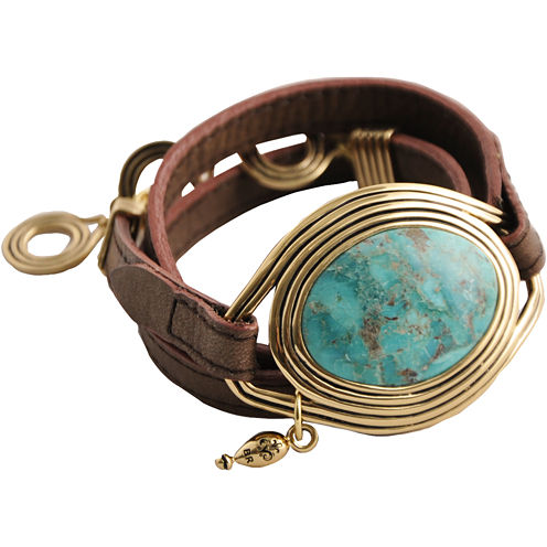 Art Smith by BARSE Turquoise Leather Wrap Bracelet