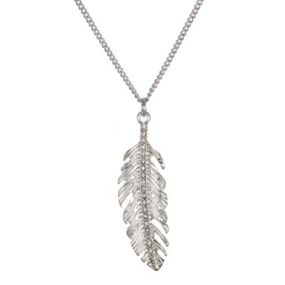 Mixit™ Silver-Tone Feather Pendant Necklace