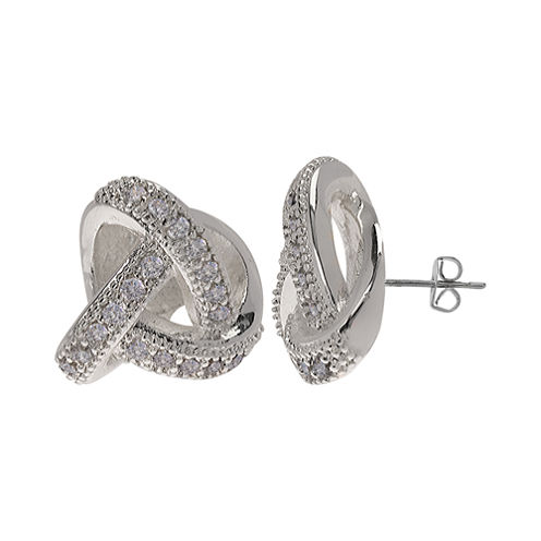 Sparkle Allure™ Silver-Plated Cubic Zirconia Love Knot Earrings