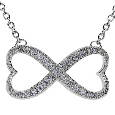 Sparkle Allure™ Silver-Plated Cubic Zirconia Heart-Shaped Infinity Necklace