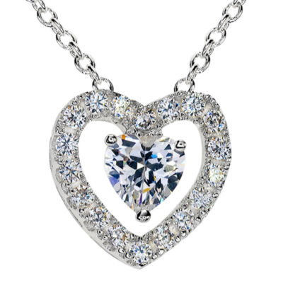 Sparkle Allure™ Silver-Plated Cubic Zirconia Heart Pendant Necklace