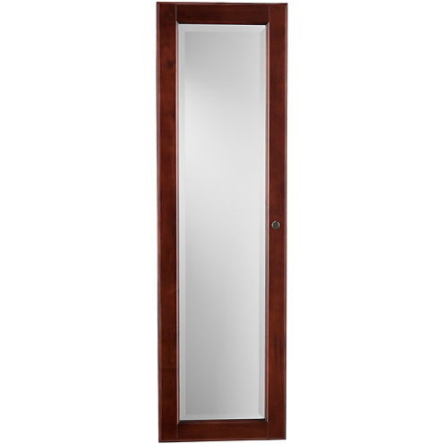Declan Mirrored Wall-Mounted Full Length Jewelry Armoire - Declan Wall Mount Full Length Jewelry Armoire Mirror
