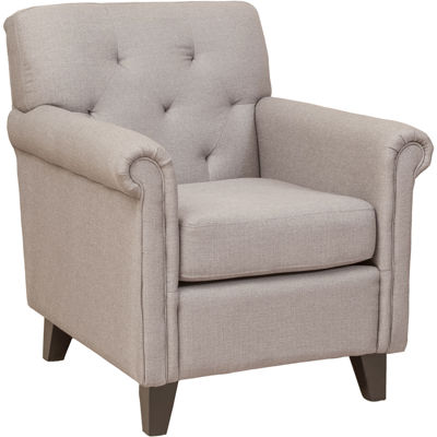 Farris Parchment White Button-Tufted Club Chair