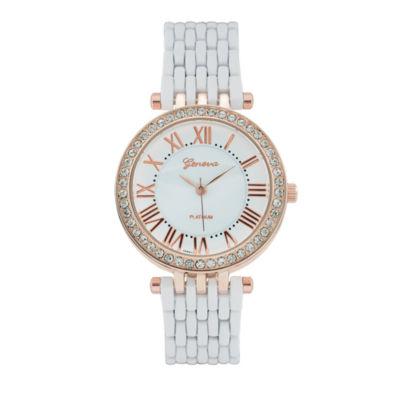 Geneva Platinum Womens White Bracelet Watch-1533