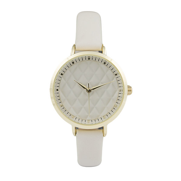Geneva Platinum Womens White Strap Watch-10072