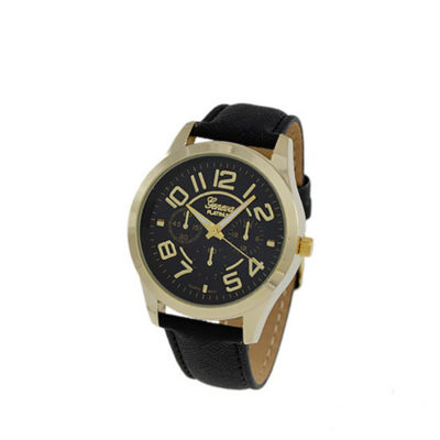 Geneva Platinum Womens Black Strap Watch-4658