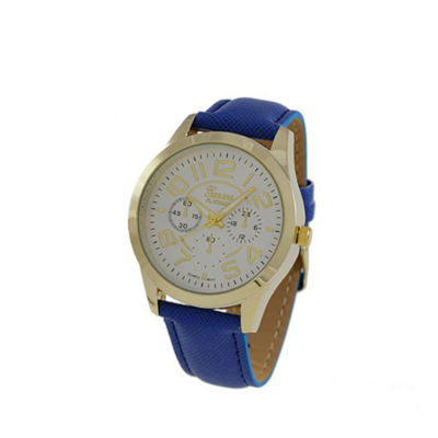 Geneva Platinum Womens Blue Strap Watch-4658