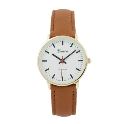 Geneva Platinum Womens Brown Strap Watch-15025