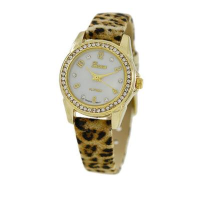 Geneva Platinum Womens Brown Strap Watch-4660