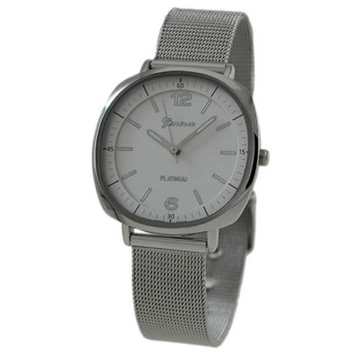 Geneva Platinum Womens Silver Tone Strap Watch-1528