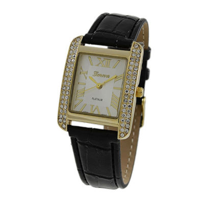 Geneva Platinum Womens Black Strap Watch-5975