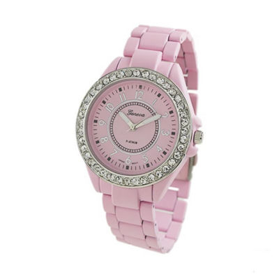 Geneva Platinum Womens Pink Bracelet Watch-2260