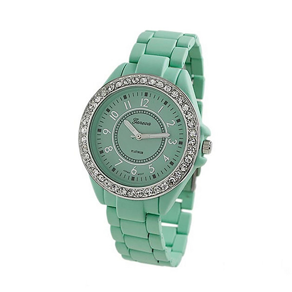 Geneva Platinum Womens Green Bracelet Watch-2260