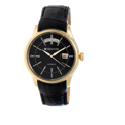 Heritor Vernon Mens Black Strap Watch-Herhr5807