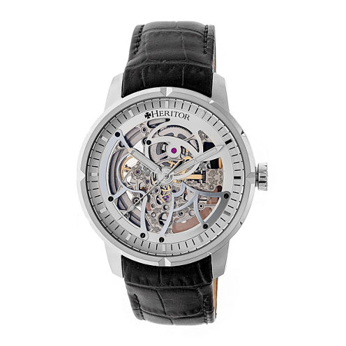 Heritor Ryder Mens Black Strap Watch-Herhr4601