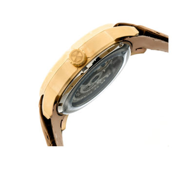 Heritor Ryder Mens Brown Strap Watch-Herhr4605
