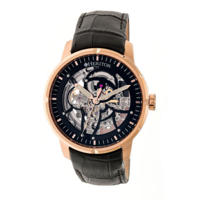 Heritor Ryder Mens Black Strap Watch-Herhr4606
