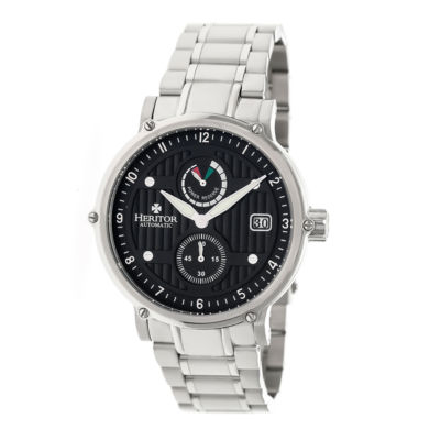 Heritor Leopold Mens Silver Tone Bracelet Watch-Herhr4702