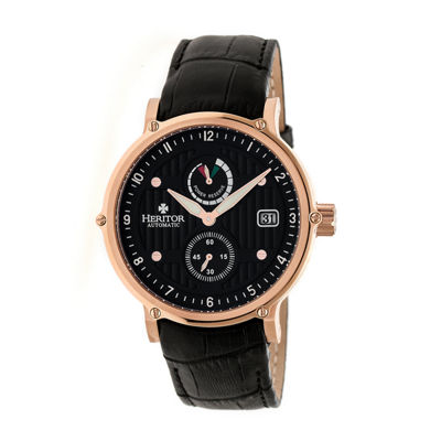 Heritor Leopold Mens Black Strap Watch-Herhr4707