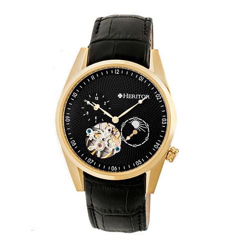 Heritor Alexander Mens Black Strap Watch-Herhr4904