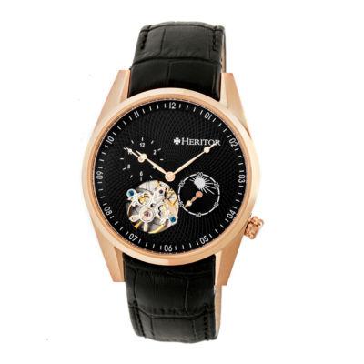 Heritor Alexander Mens Black Strap Watch-Herhr4906