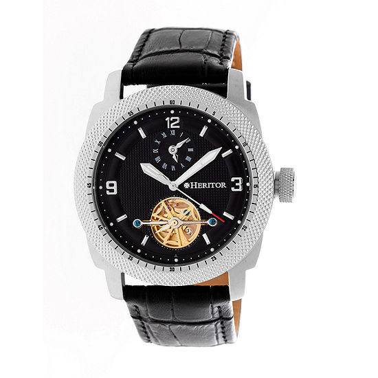 Heritor Helmsley Mens Automatic Black Leather Strap Watch-Herhr5006