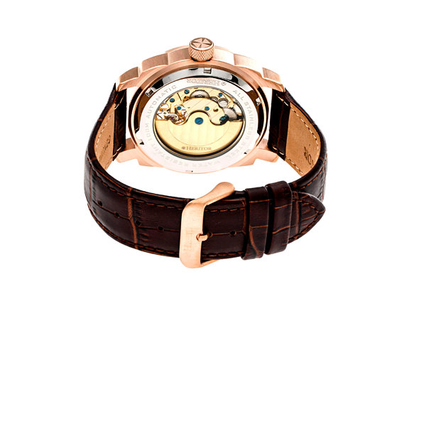 Heritor Helmsley Mens Brown Strap Watch-Herhr5008