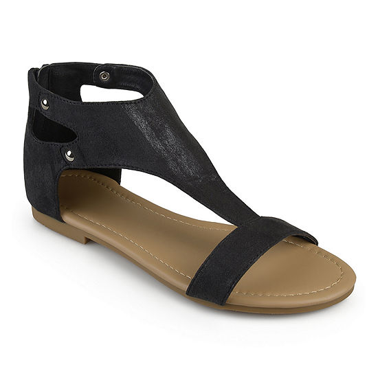 Journee Collection Womens Bevin T Strap Flat Sandals