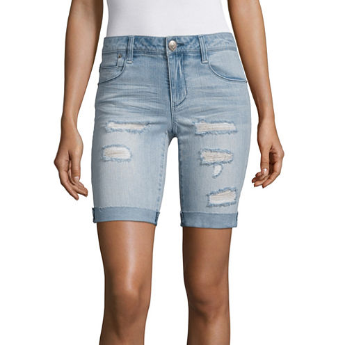 "Almost Famous 8"" Denim Bermuda Shorts-Juniors"