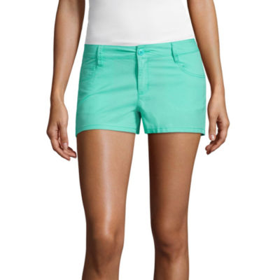 "City Streets 2.5"" Poplin Chino Shorts-Juniors"