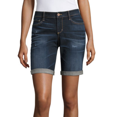 "Arizona 9"" Skinny Fit Denim Bermuda Shorts-Juniors"