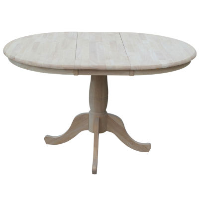 Unfinished Extension Round Wood-Top Dining Table