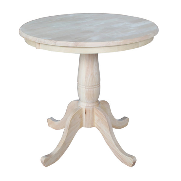 Unfinished Pedestal Round Wood-Top Dining Table
