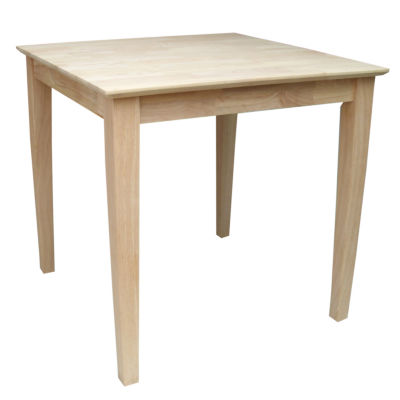 Unfinished Solid Wood Top With Shaker Legs Square Wood-Top Dining Table