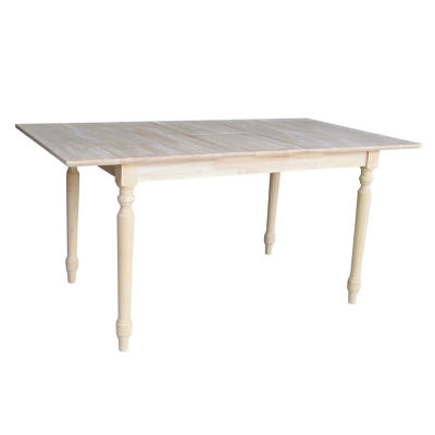 Unfinished Butterfly Extension Rectangular Wood-Top Dining Table