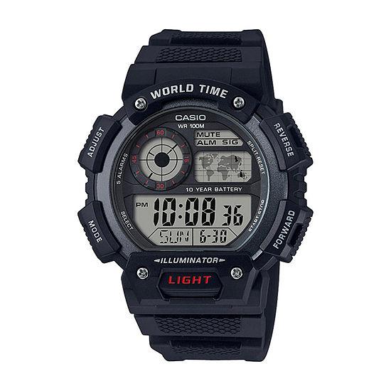 Casio Mens Black Strap Watch-Ae1400wh-1av