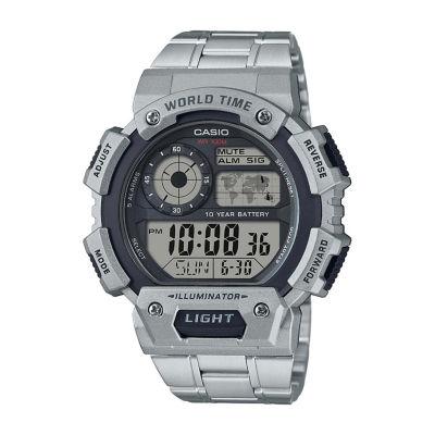 Casio Table Mens Silver Tone Strap Watch-Ae1400whd-1av