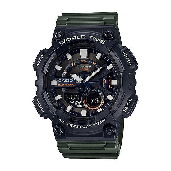 Casio Mens Green Strap Watch-Aeq110w-3av