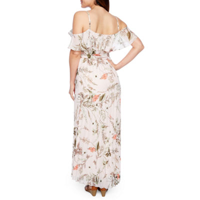 Premier Amour Short Sleeve Floral Maxi Dress