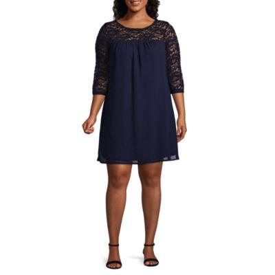 Luxology Long Sleeve Lace Sheath Dress - Plus