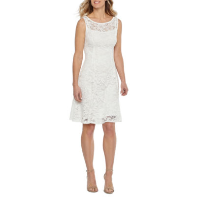 Liz Claiborne Sleeveless Floral Lace Fit & Flare Dress