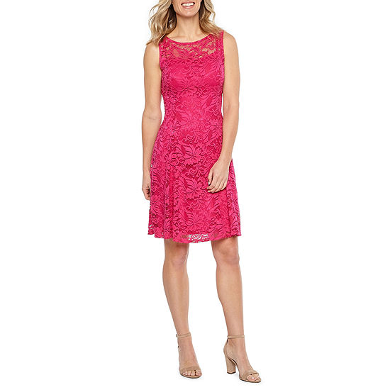 Liz Claiborne Sleeveless Floral Lace Fit Amp Flare Dress