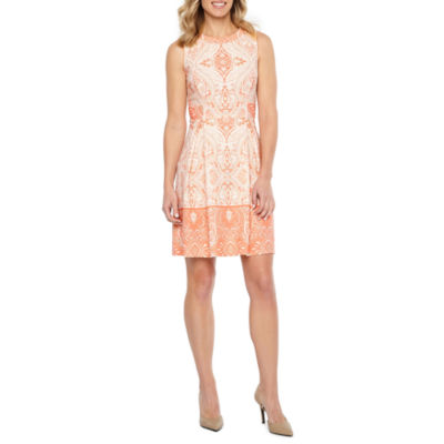 Liz Claiborne Sleeveless Paisley Fit & Flare Dress
