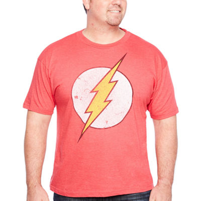 Dco Flash Logo Short Sleeve Justice League Graphic T-Shirt-Big and Tall