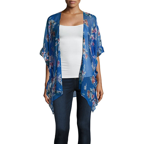 Rewind Womens Short Sleeve Kimono-Juniors
