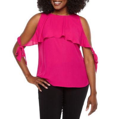Worthington Short Sleeve Woven Dress Shirt-Petite